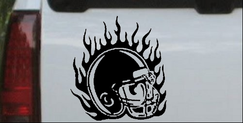 Flaming Football Helmet