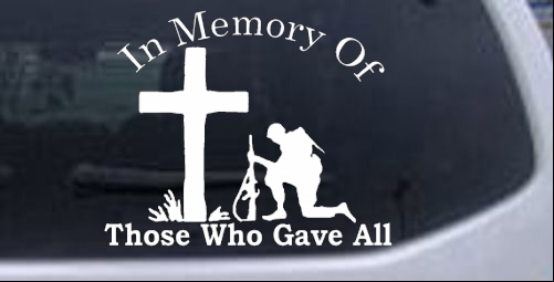 In Memory Of Troops Military car-window-decals-stickers