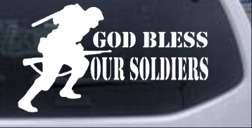 God Bless Our Soldiers Military car-window-decals-stickers