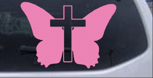 Butterfly With Cross Christian Car or Truck Window Laptop Decal Sticker