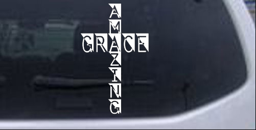 Amazing Grace Cross Christian car-window-decals-stickers