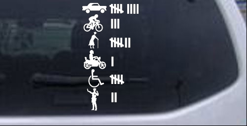 Keeping count funny driving tally marks car or truck window laptop decal sticker