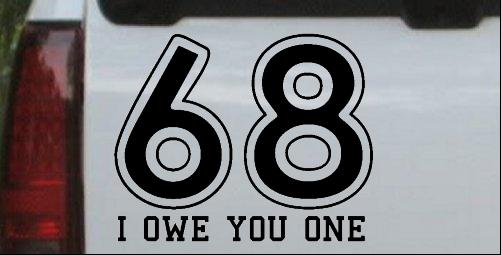 68 I owe you 1