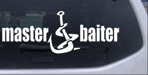 Master baiter funny fishing car or truck window laptop for Fishing stickers for trucks