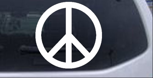 Peace sign symbol car or truck window laptop
