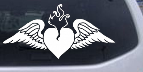 Heart With Wings Girlie car-window-decals-stickers