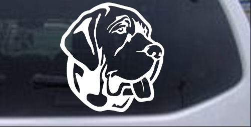 Mastiff dog car or truck window decal sticker sample in black sample in white