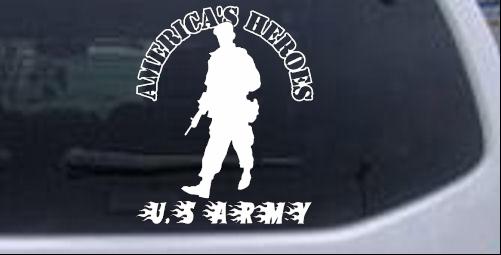 Americas Heroes U.S Army Military car-window-decals-stickers
