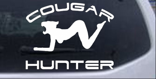 Cougar hunter decal car or truck window decal sticker