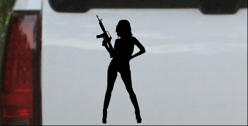 Sexy Girl With machine Gun Decal
