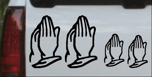 Praying Hands Christian Stick Family Decal