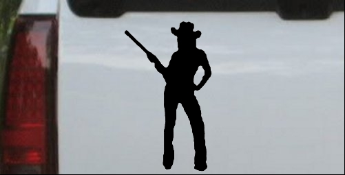 Cowgirl With Gun Decal