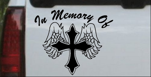 In Memory Of Cross with Wings Decal