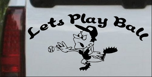 Lets Play Ball Baseball Pitcher Decal
