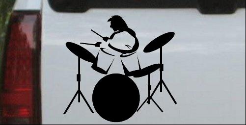 Drummer Outline Line Art Decal