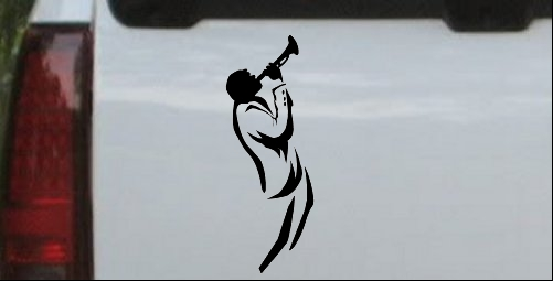 Bugle Player Line Art Decal