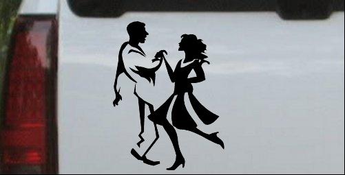 Couple Dancing 1 Line Art Decal