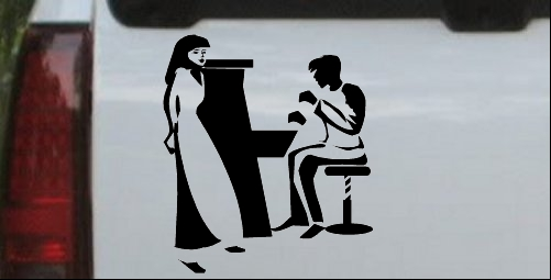Man Woman Piano Line Art Decal