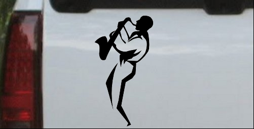 Jazz Man With Saxophone Decal