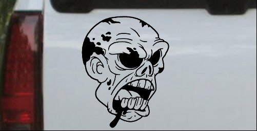 Bloody Zombie Head Decal