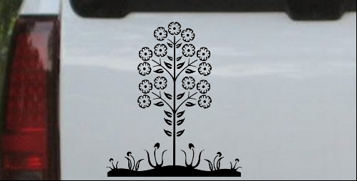 Flower Stalk Big Blooms Wall Decal