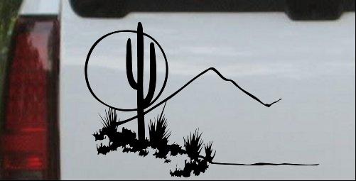 Western Cactus Moon Scene Decal