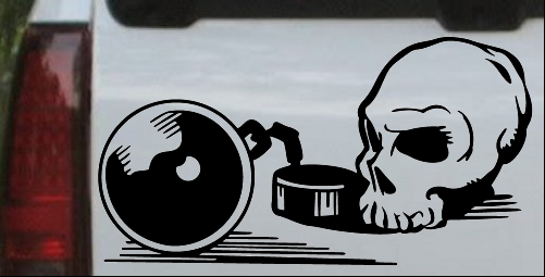 Skull Ball and Chain Decal