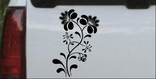 Swirl Leaf Flowers Decal