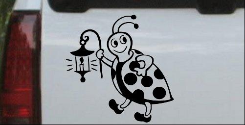 Cute Ladybug W Lantern Decal