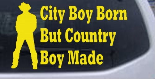 City Boy Born Country Boy Made Car Or Truck Window Laptop Decal - Country boy decals for trucks