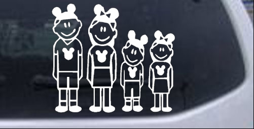 Mickey mouse disney 2 kids stick family car or truck window laptop decal sticker