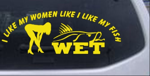 I Like My Fish Like My Women Wet Fishing Car Truck Window Laptop - Truck window decals