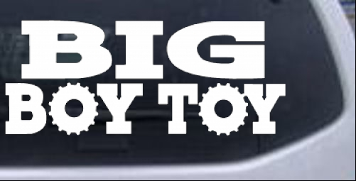 Big boy toy car or truck window laptop