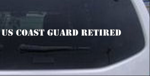 US COAST GUARD RETIRED text Military car-window-decals-stickers