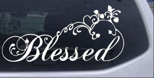 Blessed with swirls hearts car or truck window laptop decal sticker