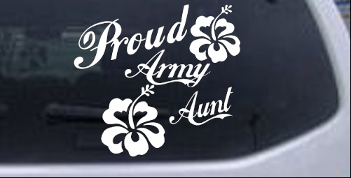 Proud Army Aunt Hibiscus Flowers Military car-window-decals-stickers