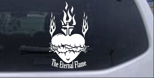 Sacred Heart The Eternal Flame Christian car-window-decals-stickers