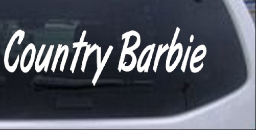 Country barbie car or truck window laptop decal