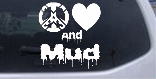 Peace Love And Mud Off Road car-window-decals-stickers