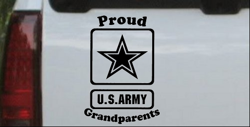 Proud Army Grandparents Star Car Or Truck Window Laptop