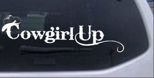 Cowgirl Up Girlie car-window-decals-stickers