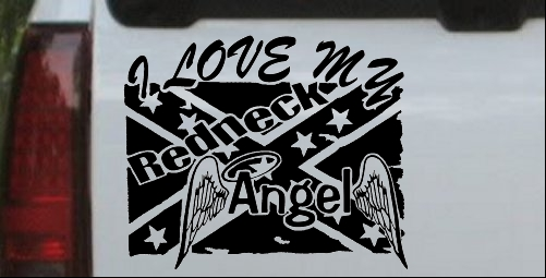 I Love My Redneck Angel With Rebel Flag