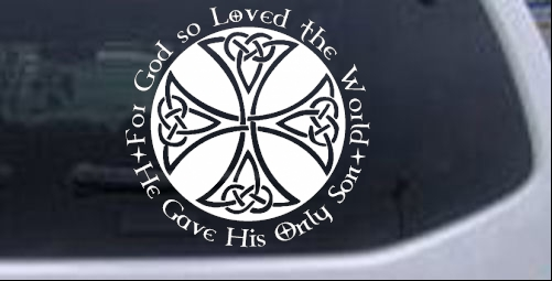 Celtic cross john 3 16 christian car or