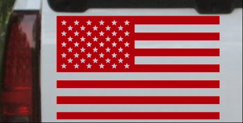 American flag car or truck window laptop decal
