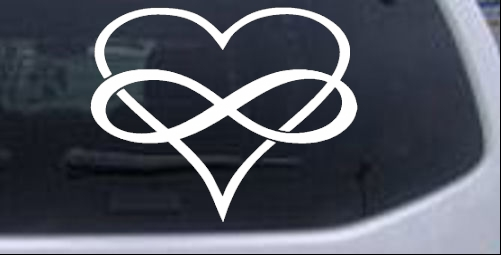 Infinity symbol around a heart car or truck window decal sticker