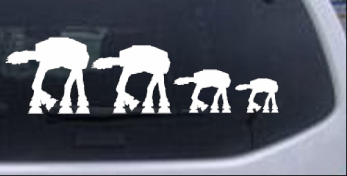 At at star wars stick family car or truck window decal sticker