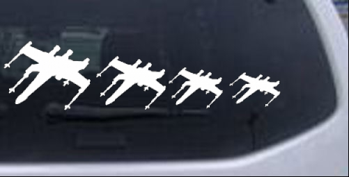 X Wing Star Wars Stick Figure Family Sci Fi car-window-decals-stickers