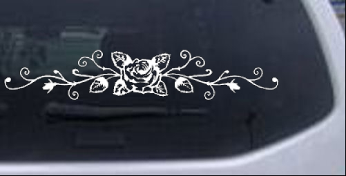 Rose Vine With Swirls Flowers And Vines car-window-decals-stickers