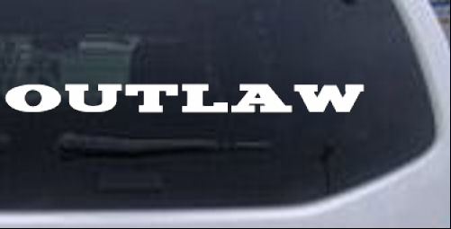Outlaw Text Biker car-window-decals-stickers