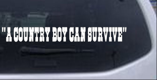 A Country Boy Can Survive Text Country car-window-decals-stickers